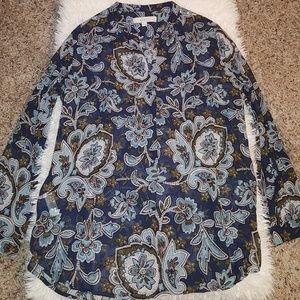 LOFT blouse Split neck